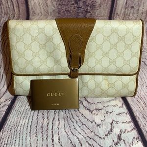 Authentic Gucci vintage clutch asis GG logo canvas